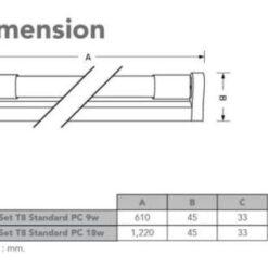 ชุดราง LED T8 ฟลูเซ็ต 9w,18w
