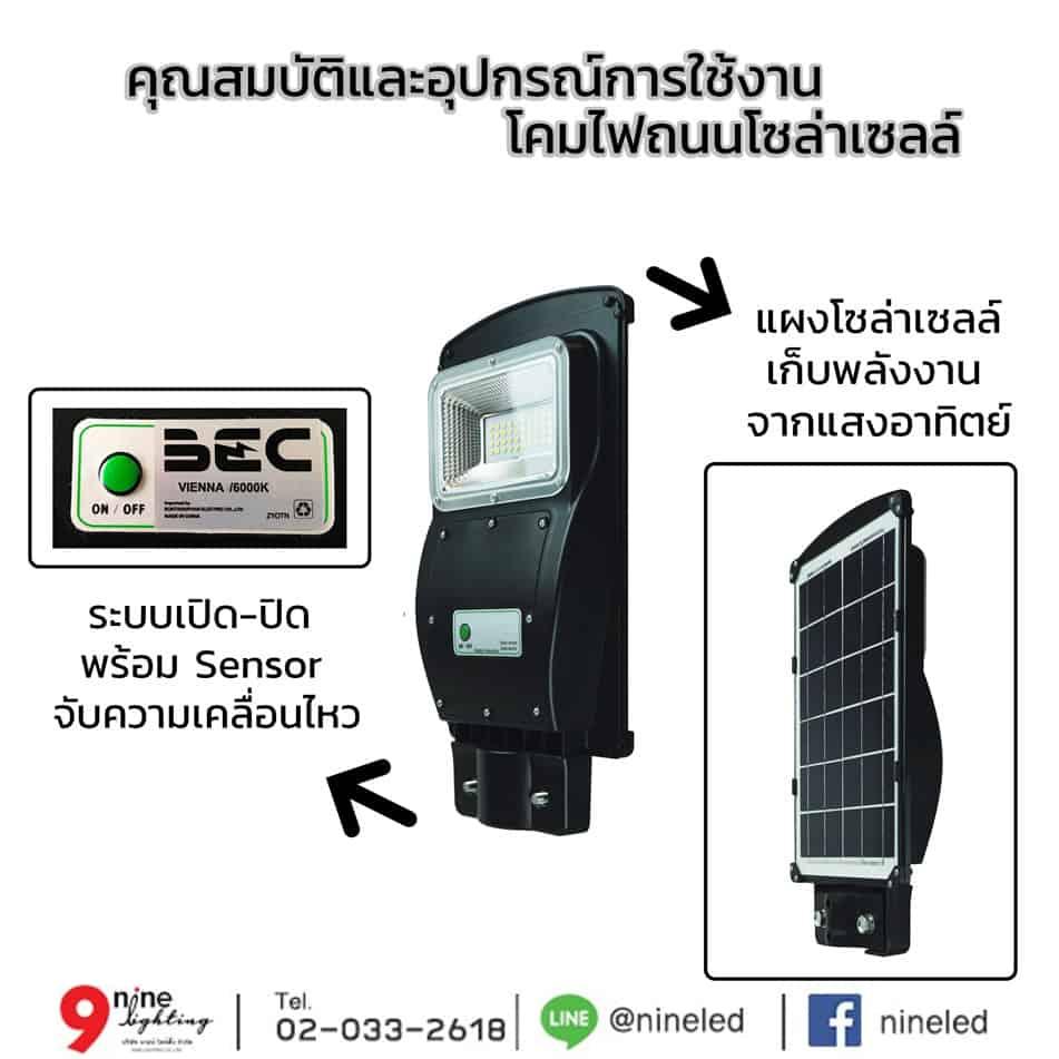 อุปกรณ์และคุณสมบัติ โคมไฟถนนโซล่าเซลล์ LED 30W BEC VIENNA