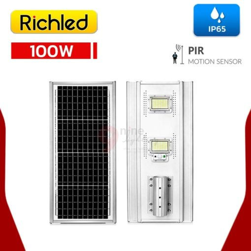 หน้าและหลัง โคมไฟถนนโซล่าเซลล์ LED 100W RICHLED RICH-A200